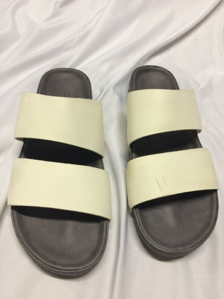 FEIT SLIDE  LEATHER  Sandals Size XXL White