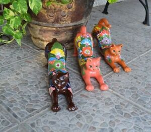 Cat Talavera Ceramic Black Cat Feline Home Kitchen Patio Pottery
