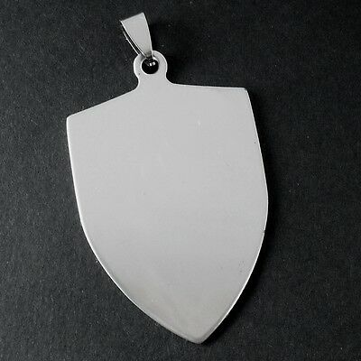 5 x Stainless Steel Blank Shield / Crest Pendants w/ Bail - Engravable
