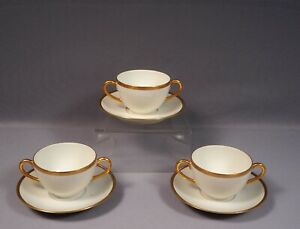 LIMOGES-France-B-amp-C-Bernardaud-GOLD-Cream-Soup-Bouillon-Bowl-Saucer-Cup-EXCELLENT