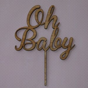 Details About Oh Baby Cake Topper Wooden Baby Shower Gender Reveal Party