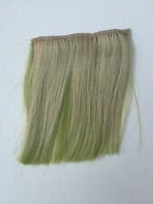 """5.5""""L By 4"""" Wide Clip in Human Hair Extensions streaks Blonde On Lime Green 1Pc"""