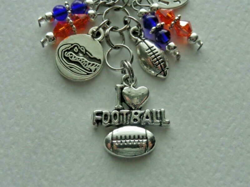 University Of Florida Gators Love Football Key Chain Clip For Purse Backpack Fob
