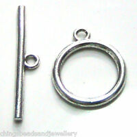 4 Sets Silver Plated Toggle Clasps 14mm Jewellery Findings