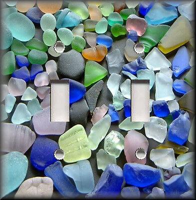 Light Switch Plate Cover - Beach Home Decor - Beautiful Beach Glass - Spa Decor