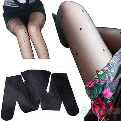 Sexy Attractive Black Peach Pattern Jacquard Pantyhose Heart Style Tights B1AU