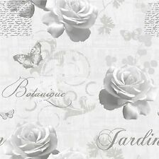 Muriva Jardín Botánico Wallpaper 127501 script Rose Mariposa Gris Plata