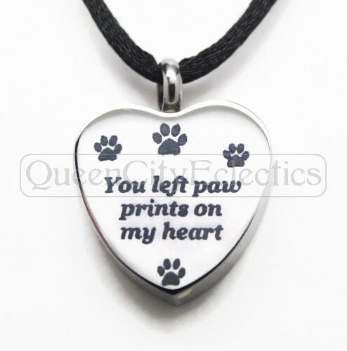 Pet Memorial Frame You Left Paw Prints Heart Ash Urn Locket