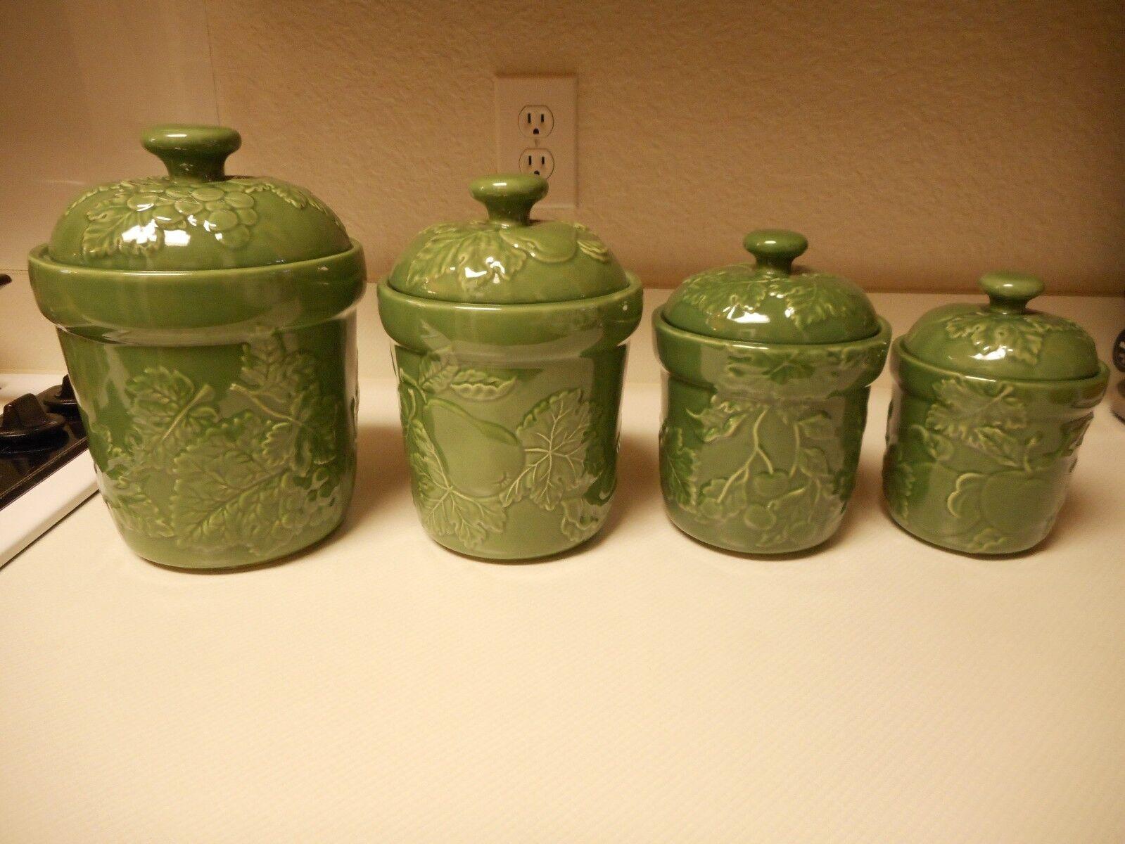 Le principal Ingrédient Canister Set Vert Ivy fruits 4 Bidons avec Couvercles