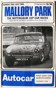 MALLORY PARK 28th Jul 1968 Nottingham Cup Motor Racing Official Programme