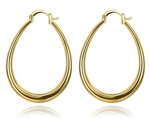 9ct Yellow Gold Filled Large Long Oval Flat Hoop Earrings Jewellery GIFT 44x34 - London, United Kingdom - 9ct Yellow Gold Filled Large Long Oval Flat Hoop Earrings Jewellery GIFT 44x34 - London, United Kingdom