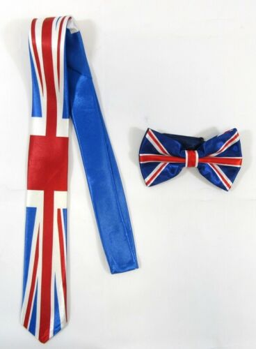Adults Mens Bow Tie Union Jack White Black Red Blue Striped Pattern Fancy Dress