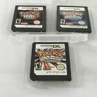 3PCS Pokemon Platinum+Pearl+Diamond US Version Game card For Nintendo DS NDS DSI