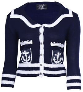 Cute-ANCHOR-Vintage-Matrosen-SAILOR-KINDER-Strickjacke-CARDIGANRockabilly