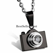 Men's Women's Unisex Stainless Steel Camera Charm Pendant Necklace 22inch Chain