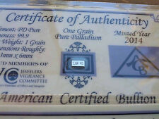 ACB Palladium 99.9 Pure 1GRAIN with COA Precious Metal Very Rare Bullion PD Bar.