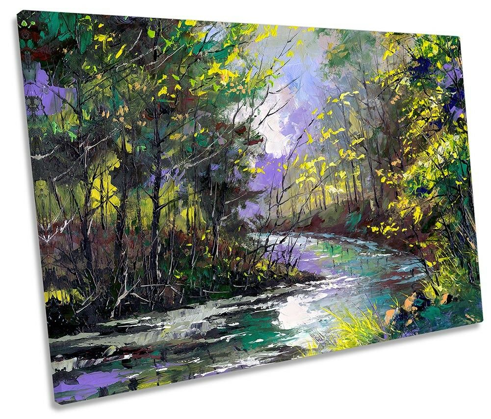 Grün Forest River Landscape SINGLE CANVAS WALL ARTWORK Print Art