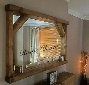 Handcrafted Rustic Farmhouse Style Chunky Wooden Mirror