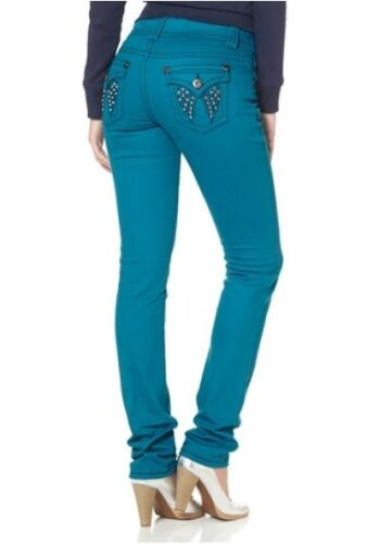 Arizona Slim Fit Jeans Lunga-TG 76 Donna Denim Pantaloni Tubo Turchese Blu Stretch l34