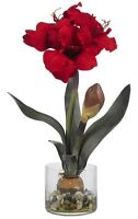 Nearly Natural 4827 Amaryllis With Round Vase, Red, New, Free Shipping on Sale