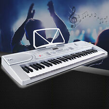61 Key Music Electronic Keyboard Digital Piano Organ w/Microphone Silver