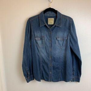 Sonoma-Life-Style-Womens-Denim-Shirt-Blue-Long-Sleeves-Faded-Pockets-Cotton-M