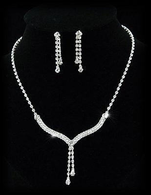 Unter Der Voraussetzung Hochzeit Halskette Ohrringe Strass Schmuckset S1086 Uhren & Schmuck