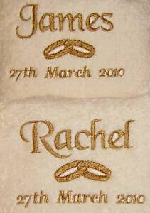 Personalised Wedding Named 2x Hand Towel Gift Set Anniversary Engagement