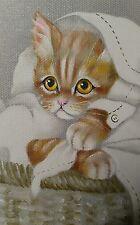 Vintage signed original art kitty cat kitten portrait  painting