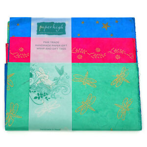 Comercio-Justo-Lokta-Papel-TRES-Sabana-envoltorio-regalo-paquete-gwp73