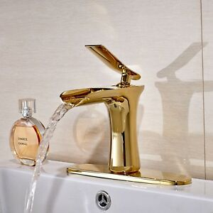 Waterfall-Single-Handle-Basin-Vanity-Sink-Vessel-Bathroom-Faucet-Mixer-Tap-Gold