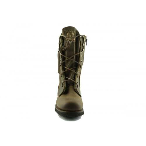 laterale tasca Military Combat Brown Up Biker Boots Handmade Boot Lace 2024 Loblan vWPBqnUP