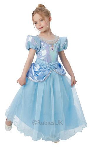 Disney Premium Cinderella Girls Fancy Dress Princess Kids Childs Deluxe Costume