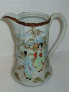 Porcelain-7-5in-Pitcher-Pouring-Jug-W-Asian-Chinese-Painted-Art-People-Scenery