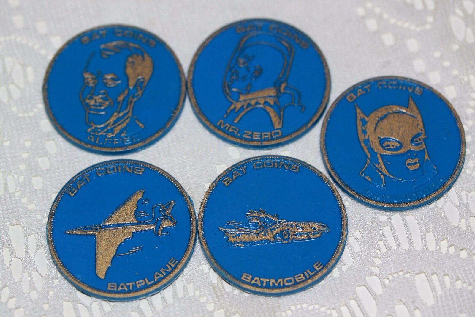 1966 BATMAN LOT OF 5 5 5 BAT COIN COINS BATPLANE ALFRED CATWOMAN MR ZERO blueE 3af677