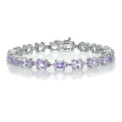 AAA Pink Ruby TGW 18ct White or Rose Gold on 925 Sterling Silver Tennis Bracelet
