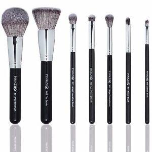 pinkzio makeup brush set 7 piece set for face  eyes