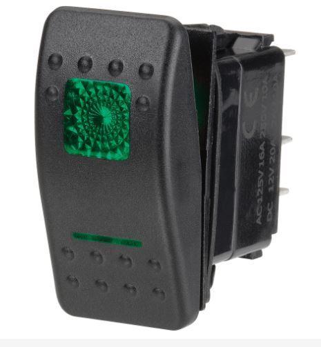 Narva 12 Volt Illuminated Off On Sealed Rocker Switch Green 12V Only 63124BL