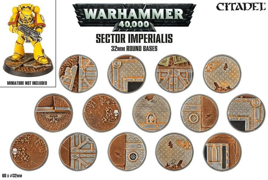 Sector Imperialis 32mm Round Bases (60 Bases ) 32 32 32 mm Games Officina redondo Base 67c499