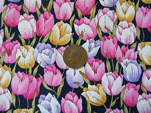 NAVY-WITH-A-DESIGN-OF-PINK-GOLD-amp-LILAC-TULIPS-100-COTTON-FABRIC-FQ