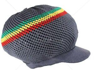 M//L Mesh Rasta Hat Cap Dreadlocks Tam Slouchy Beanie Crocheted Hat Red Loc Hair