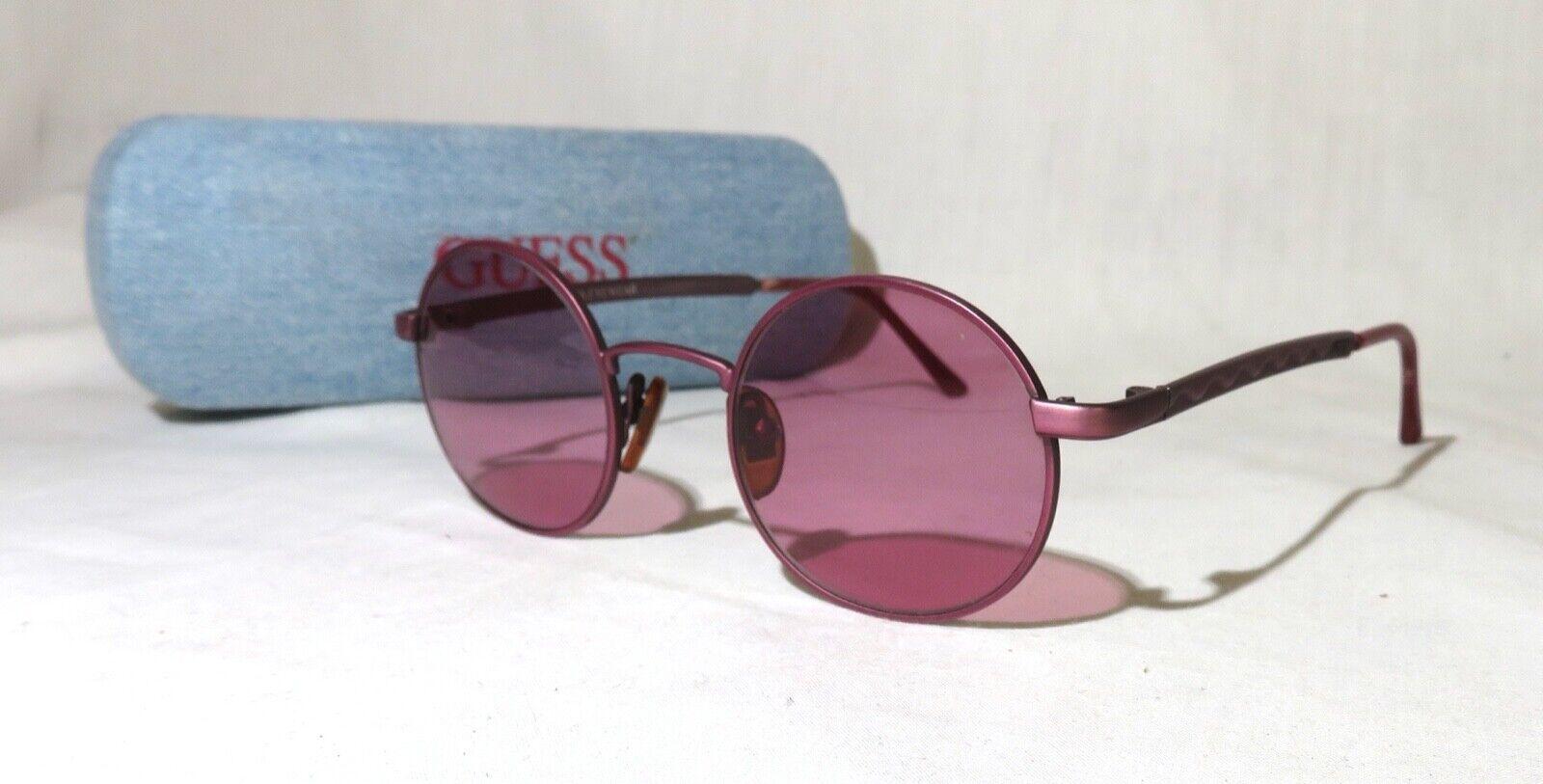 Guess Eyewear GU731 Sunglasses, Mauve pink metal frame, 44-21-135