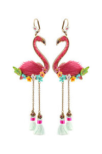 Image Is Loading Michal Negrin Shiny Flamingo Earrings Swarovski 100174831001