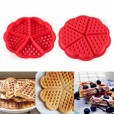 Silicone Waffles Muffin Heart Shaped Mold Cake Chocolate Pan Kitchen Baking Tool