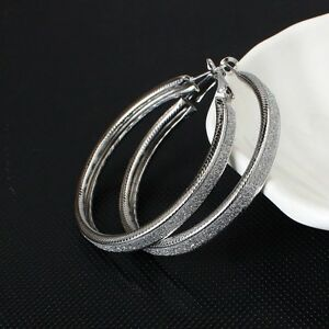 LARGE-SILVER-PLATED-MADE-WITH-BRUSHED-CRYSTALS-HOOP-EARRINGS-50MM-SLV1-XMAS-GIFT
