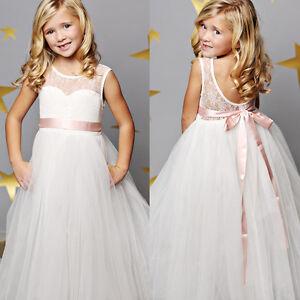 d8c72544b Image is loading Girls-Kid-Princess-Dresses-Party-Wedding-Bridesmaid-Flower-