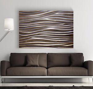 xl leinwand bild 100x70x5 metall wellen 3d industrie design wandbild ikea neu ebay. Black Bedroom Furniture Sets. Home Design Ideas