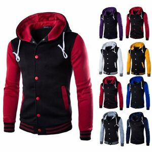 Fashion-Men-039-s-Slim-Hoodie-Sweatshirt-Sweater-Hooded-Pullover-Jacket-Coat-Outwear