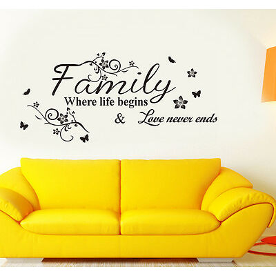 6413  Wall Stickers Wall Quote Family Where Life Begins