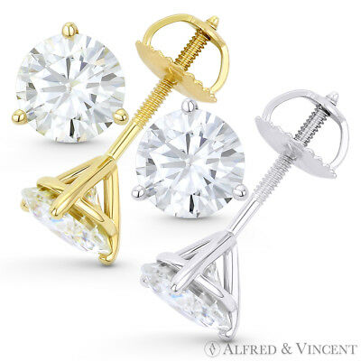 1.5 Tcw 3-Prong Martini Setting Round Cut Moissanite Stud Earring For Women